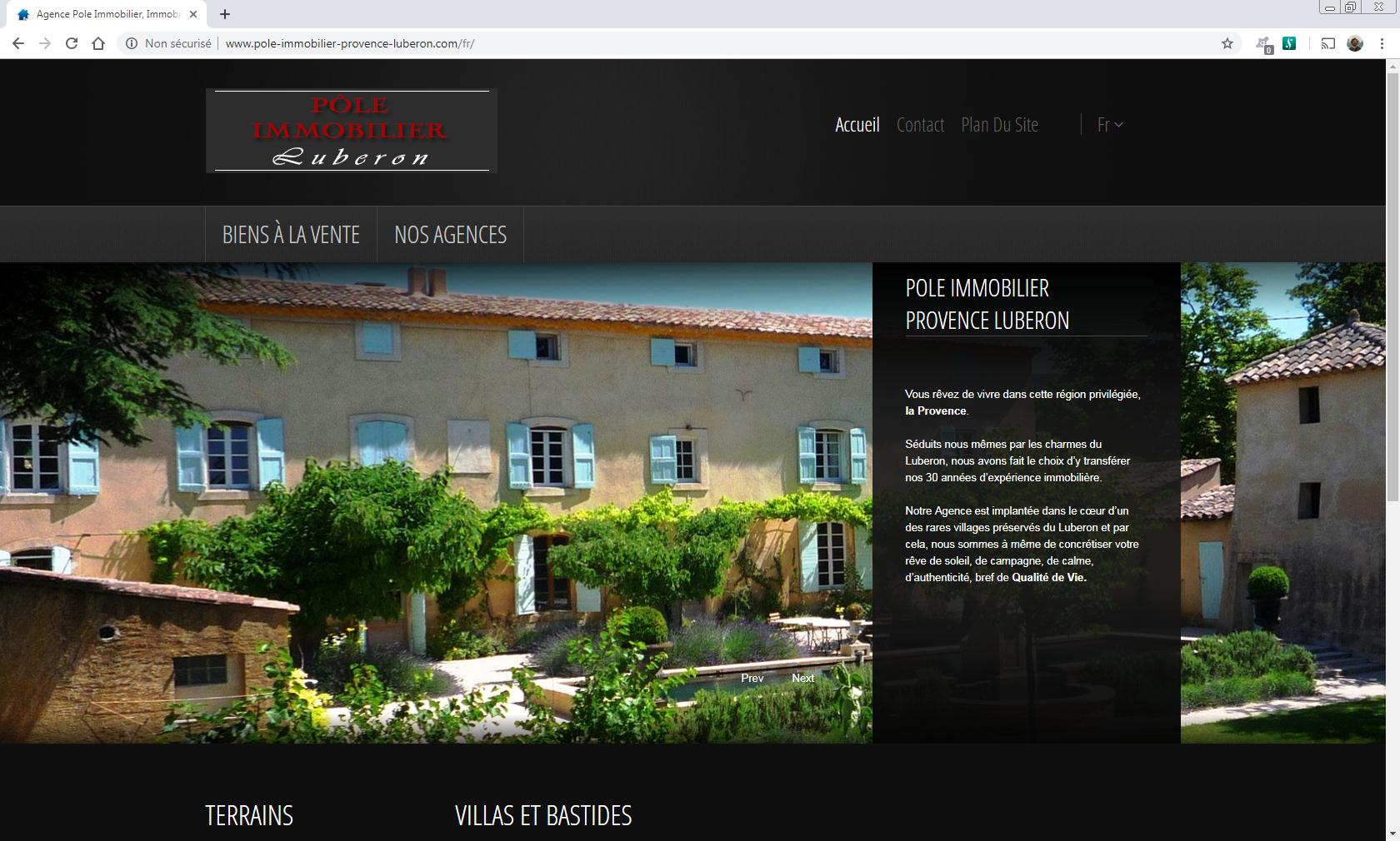 www.pole-immobilier-provence-luberon.com - Apt en Luberon Web et Informatique en luberon - Site internet et referenecment - cedric de miscault - apt à cavaillon
